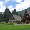 Three Gassho-zukuri houses. In the village of Suganuma, Nanto city, Toyama Prefecture Japan. While a lot smaller than the more famous Shirakawa-go, Suganuma had a more authentic feel to the place than Shirakawa-go which has become way too popular in the last few years.